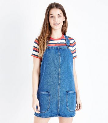 Blue Mid Wash Denim Pinafore Dress