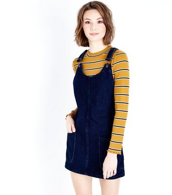 Blue Dark Wash Denim Pinafore Dress