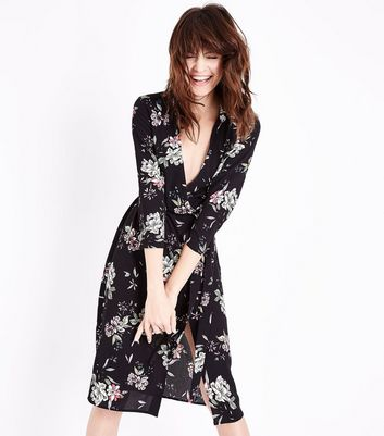 Black Floral Wrap Front Midi Dress
