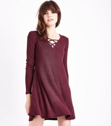 Burgundy Marl Ribbed Lattice Front Swing Dress