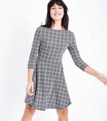 Black Check Scoop Back Skater Dress