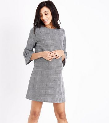 Maternity Black Check Bell Sleeve Dress