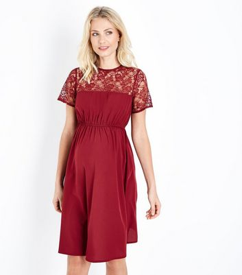 Maternity Burgundy Lace Yoke Dress