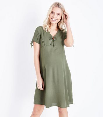 Maternity Khaki Scallop V Neck Tea Dress