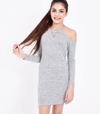 Teens Grey Lattice Front Cold Shoulder Dress