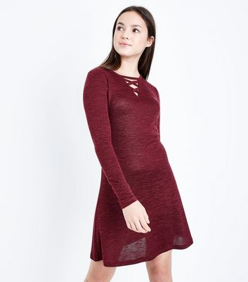 Teens Burgundy Lattice Front Long Sleeve Dress