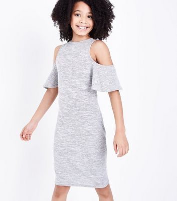 Teens Grey Frill Sleeve Cold Shoulder Bodycon Dress