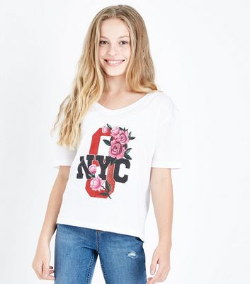 Teens White NYC Glitter Rose Logo T-shirt
