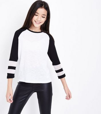 Teens Black Stripe Raglan Mesh Sleeve Top