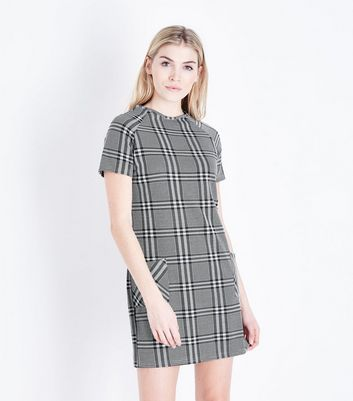 Black Check Double Pocket Tunic Dress