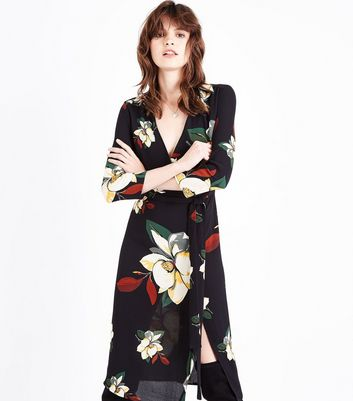 Black Floral Crepe Wrap Front Midi Dress