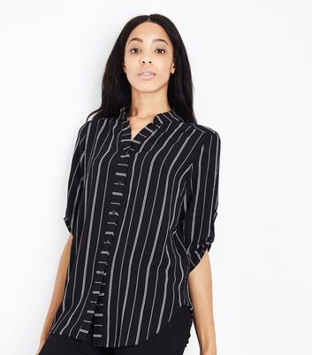 Cameo Rose Black Stripe Grandad Collar Shirt