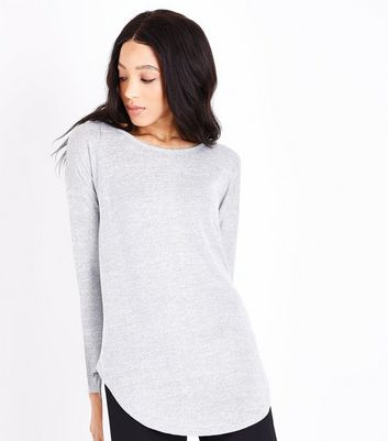 Blue Vanilla Grey Zip Back Long Sleeve Top