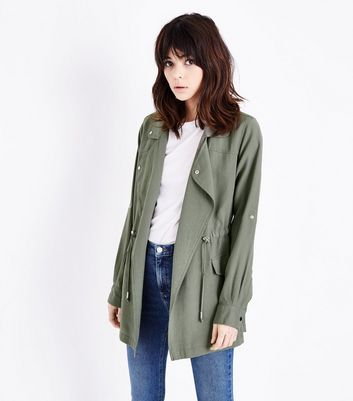 Olive Green Waterfall Shacket