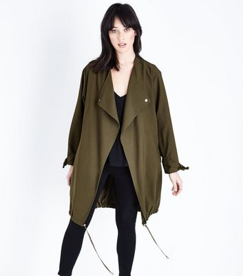 Khaki Waterfall Duster Jacket