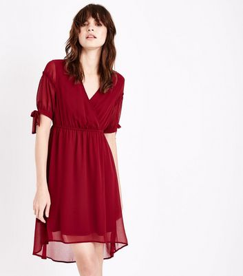 Burgundy Dip Hem Wrap Front Dress