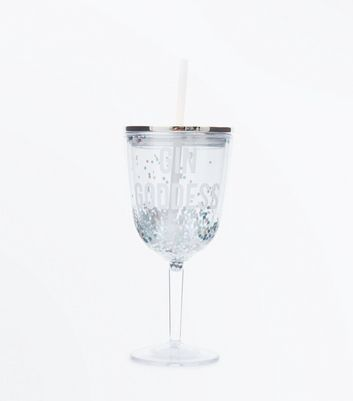 Gin Goddess Slogan Glitter Cup and Straw