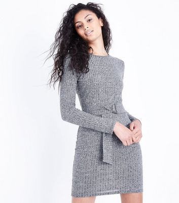 Cameo Rose Grey Ribbed Belted Dress