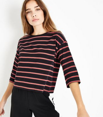 Black Stripe 1/2 Sleeve T-Shirt