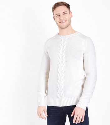 Cream Cable Knit Panel Crew Neck Jumper