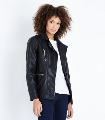 Black Leather-Look Longline Biker Jacket