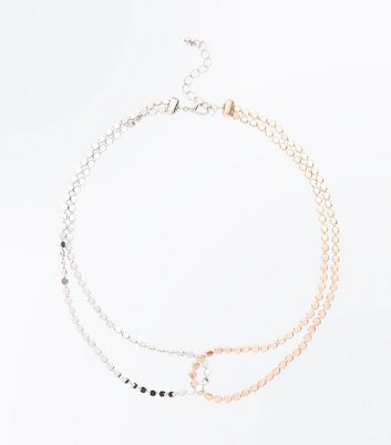 Silver and Rose Gold Linked Necklace