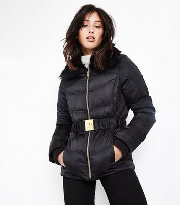 Black Faux Fur Collar Belted Quilet Puffer Jacket