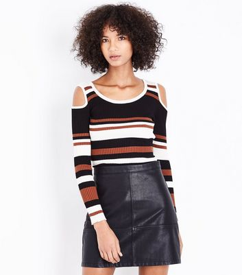 Apricot Rust Stripe Cold Shoulder Top