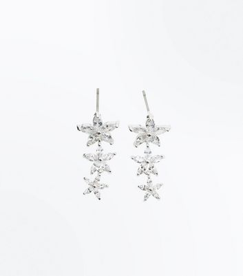 Silver Cubic Zirconia Flower Drop Earrings