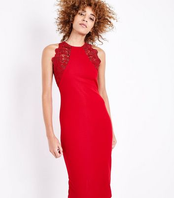 AX Paris Red Lace Trim Sleeveless Midi Dress