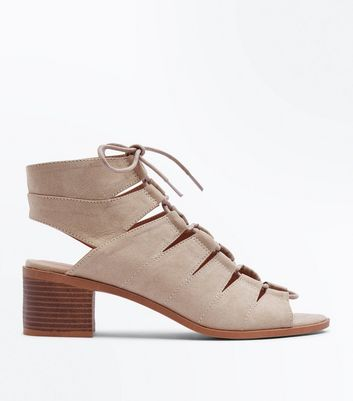 Light Brown Suedette Low Block Heel Ghillie Sandals by New Look