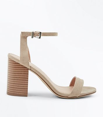 Light Brown Suedette Wooden Block Heels