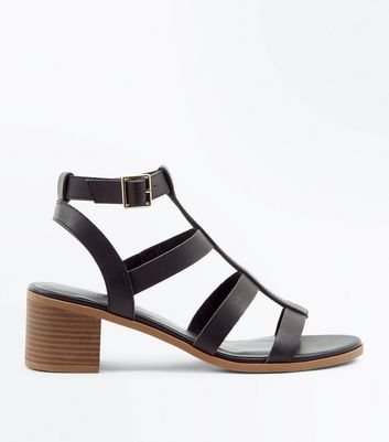 Black Low Block Heel Gladiator Sandals