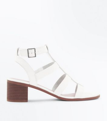 White Low Block Heel Gladiator Sandals