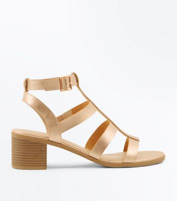 Rose Gold Low Block Heel Gladiator Sandals