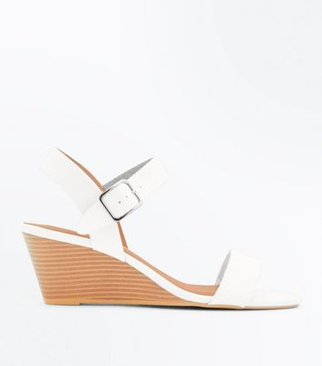 White Low Wood Wedge Heel Sandals