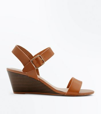 Tan Low Wood Wedge Heel Sandals