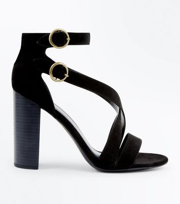 Black Suedette Circle Buckle Block Heels