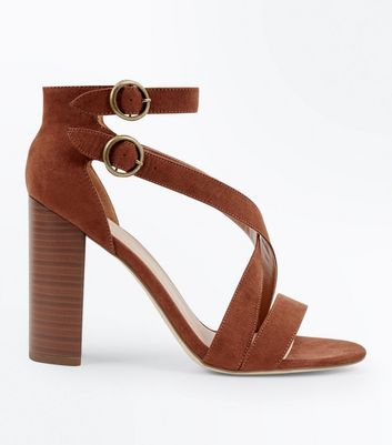 Rust Suedette Circle Buckle Block Heels