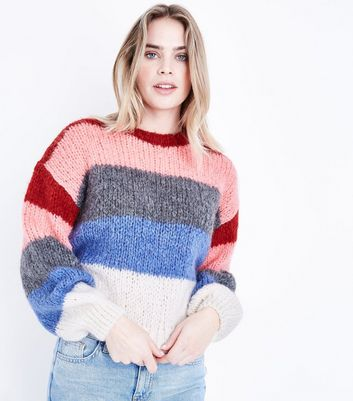 Pink Colour Block Stripe Chunky Jumper