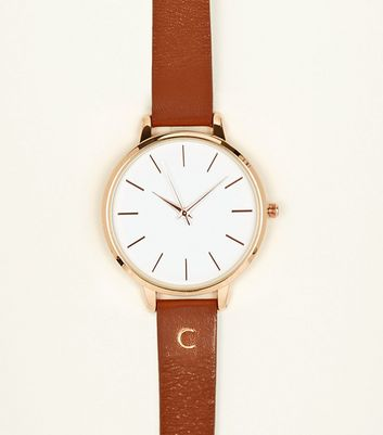 Tan C Initial Leather Watch