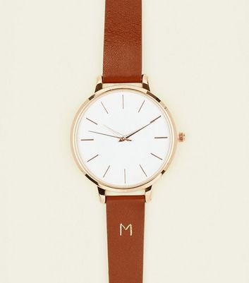 Tan M Initial Leather Watch