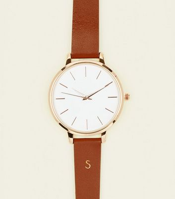Tan S Initial Leather Watch