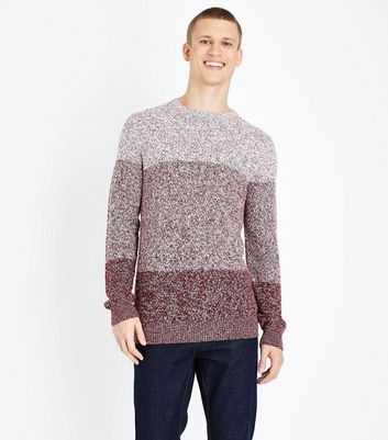 Burgundy Ombre Crew Neck Jumper