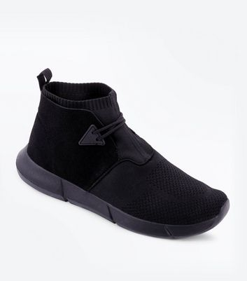 Black High Rise Knit Runner Trainers