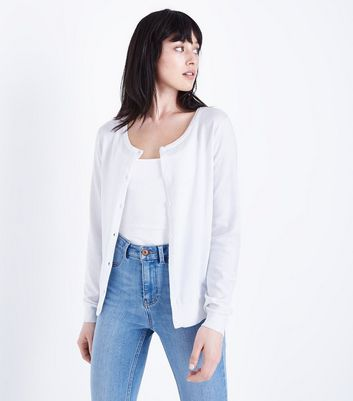 White Crew Neck Cardigan