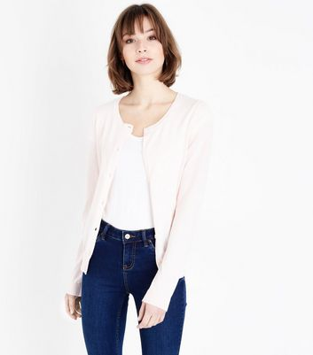 Pale Pink Crew Neck Cardigan by New Look