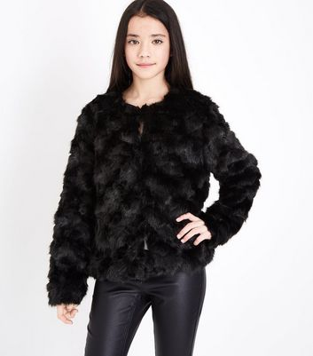 Teens Black Faux Fur Jacket