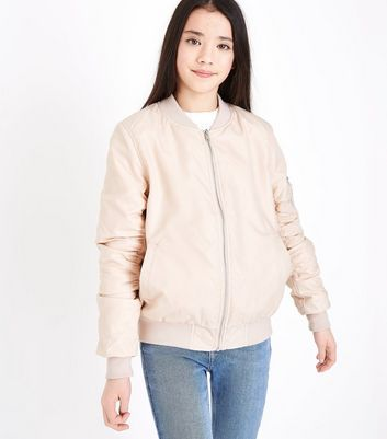 Teens Pink Satin Bomber Jacket