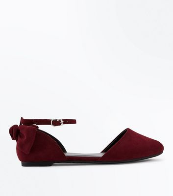 Teens Dark Red Suedette Bow Ankle Strap Pumps